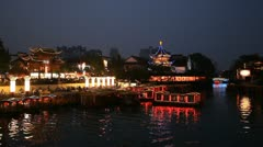 Confucius Temple Nanjing Shopping Area Illuminated Night Dusk Light Tour Boat Stock Footage