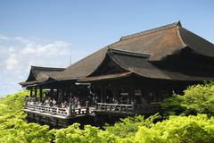 Kiyomizu-dera in Kyoto, the famous wooden temple and stage. Stock Photos