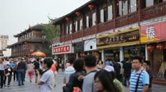 People Walking Crowd Visit Nanjing Shopping Street Fuzimiao Chinese Buyers Shop Stock Footage