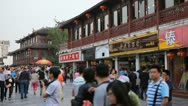 People Walking Crowd Visit Nanjing Shopping Street Fuzimiao Chinese Buyers Shop Stock Footage