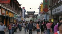 Popular Market Shopping Street People Pedestrians Walk Sidewalk Commuter Nanjing Stock Footage