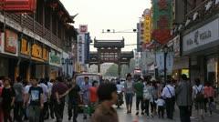 Fuzimiao Area Shopping Street Shoppers Traffic People Commuting Shop Nanjing Day Stock Footage