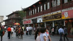 Visitors Passing Nanjing Shopping Street Chinese Restaurant Buyers Busy Zone Day Stock Footage