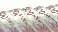 Five hundred Swedish kronor bills Stock Footage