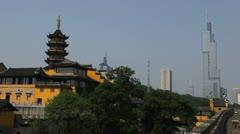 Zifeng Tower Modern Architecture Old Jiming Temple Nanjing China Buddhist Pagoda Stock Footage
