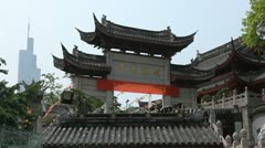 Modern Architecture Vs Old Traditional Jiming Temple Gate Zifeng Tower Nanjing Stock Footage