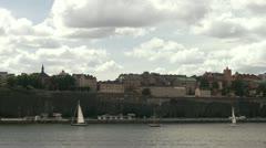 Boats in the Saltsjon in Stockholm Stock Footage