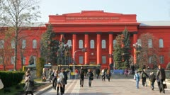 Shevchenko university in Kiev Stock Footage