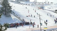 Winter mountain-skiing hill in Vyshgorod Stock Footage