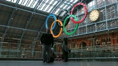 St. Pancras Train Station, London (Slow Motion with Olympic Rings) Stock Footage