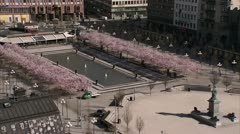People walking in a flowery park, Kungstradgarden, Stockholm Stock Footage