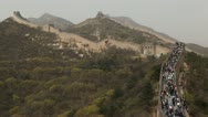 Stock Video Footage of Time Lapse of The Great Wall of China, Crowds of people on Chinese Great Wall