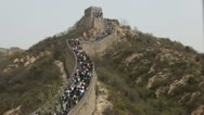 Stock Video Footage of The Great Wall of China, Crowds of people on Chinese Great Wall, Holiday