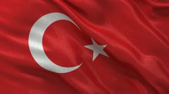 Seamless loop of the Turkish Flag waving in the wind Stock Footage