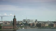 Traffic around Stockholm City Hall, Stockholm Stock Footage