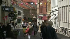 Stock Video Footage of People walking on a street in Gothenburg