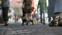 People walking on a street in Gothenburg Stock Footage