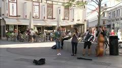 Street musicians in Gothenburg Stock Footage