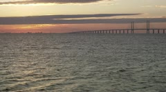 View of Oresundsbron, the bridge connecting Sweden and Denmark Stock Footage