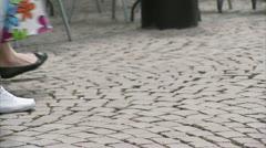 People walking on a pedestrian precinct Stock Footage