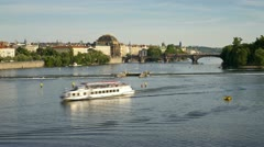 Prague, river boats T/L Stock Footage