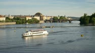 Stock Video Footage of Prague, river boats T/L