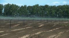 Irrigation system on farm Stock Footage