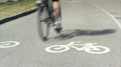 Cyclists on a cycle path Stock Footage