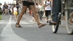 Pedestrians, cars and cyclists on the street, Stockholm Stock Footage