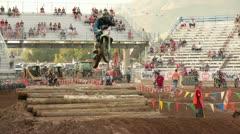 Motorcycle enduro jump race P HD 0796 Stock Footage