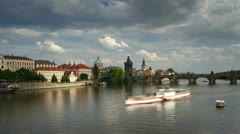 Prague, Charles Bridge T/L Stock Footage