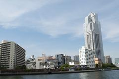 Tokyo city scape from Sumida river. Stock Photos
