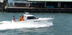Speedboat on Sumida river in Tokyo, Japan - stock photo