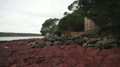 Slow pan left of Bittangabee Bay,seaside house, NSW Australia WITH AUDIO Stock Footage