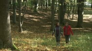 Mother and daughter walking in a forest, Stockholm Stock Footage