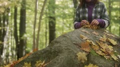 Mother, daughter and chanterelles Stock Footage