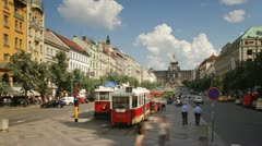 Prague, centre, trams T/L Stock Footage