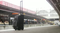 Luggage on a train station, Stockholm Stock Footage