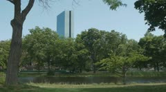 Boston John Hancock Tower from Esplanade Stock Footage