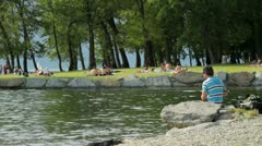 Young fisherman Stock Footage