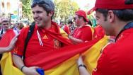 Spanish football fans before final match of European Football Championship Stock Footage