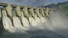 Morning Light on Hydro Dam - stock footage