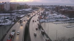 Traffic in winter, Stockholm Stock Footage