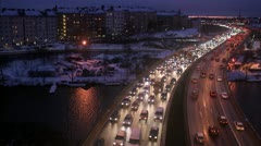 Traffic by night, Stockholm Stock Footage