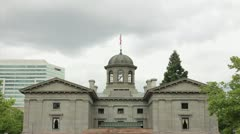 Pioneer Courthouse USA Flag Flying Time Lapse Stock Footage