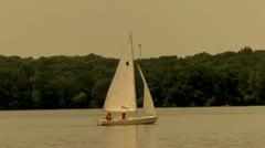 Sail Boat Lake Scene (HD) Stock Footage