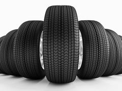 Car tires in a row Stock Photos