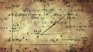 Math physics formulas on old paper loopable Stock Footage