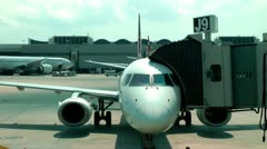 Plane at Airport Terminal, Gate, Airplane Stock Footage