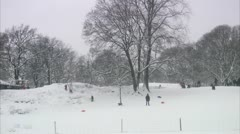 Children and grownups playing in a wintry park, Stockholm Stock Footage